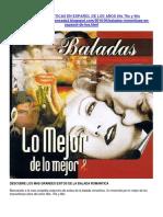 Baladas Romanticas en Español de Los Años 60s 70s y 80s
