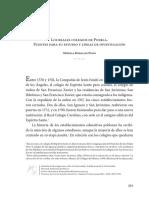 Los Reales Colegios de Puebla Fuentes Para su Investigación