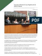 07/Noviembre/2018 Analizan propuestas para reformar la Ley Orgánica de la administración pública federal