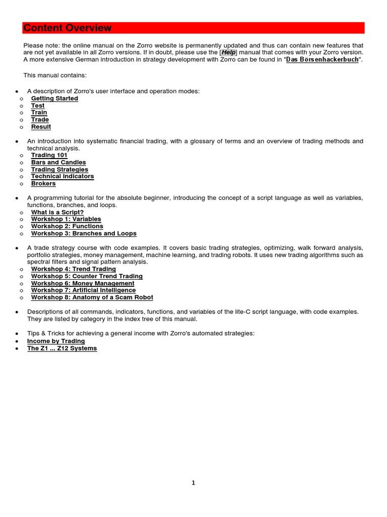 Zorro Manual | Algorithmic Trading | Subroutine