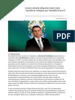 Felipevieira.com.Br-Previdência Bolsonaro Estuda Alíquota Maior Para Servidor e Fim de Benefício Integral Por Geralda Doc