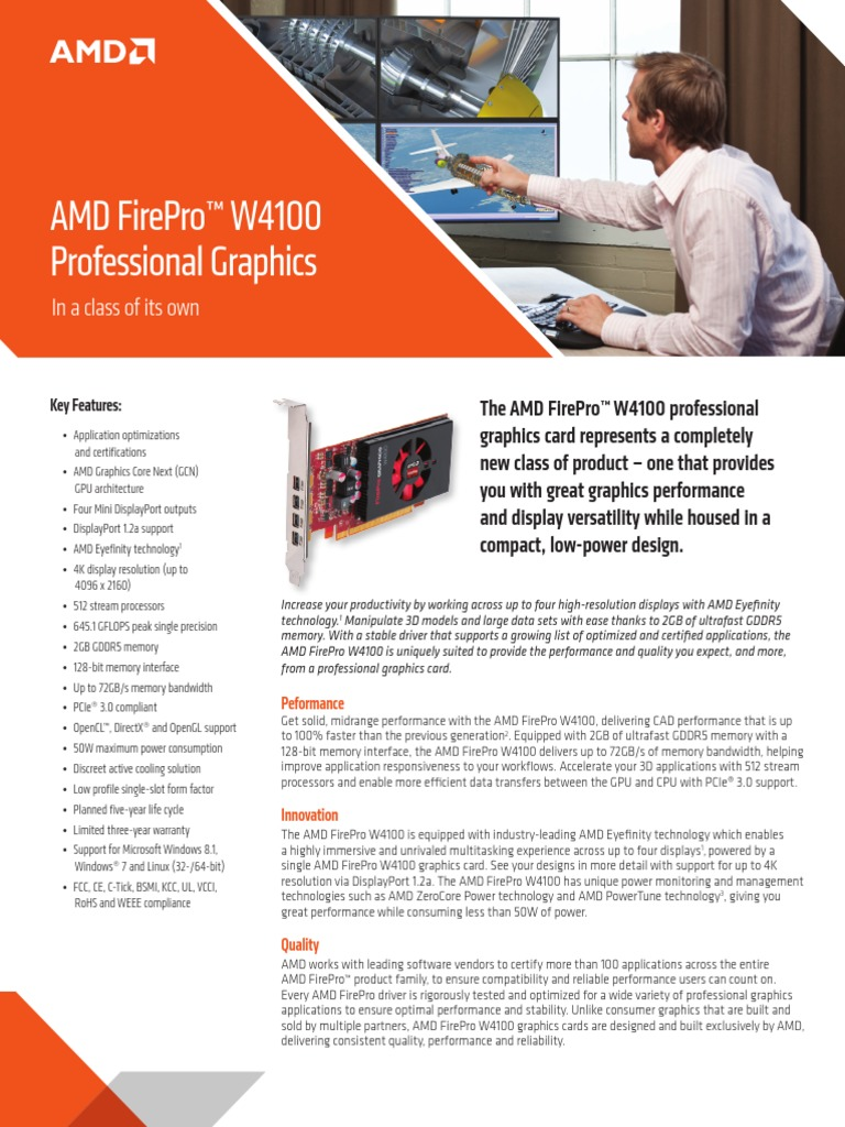 Firepro W4100 Data Sheet Pdf Graphics Processing Unit Advanced Micro Devices