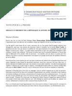 NOTE DE PRESSE Message Au President Jovenel Moise, le 9 Novembre 2018