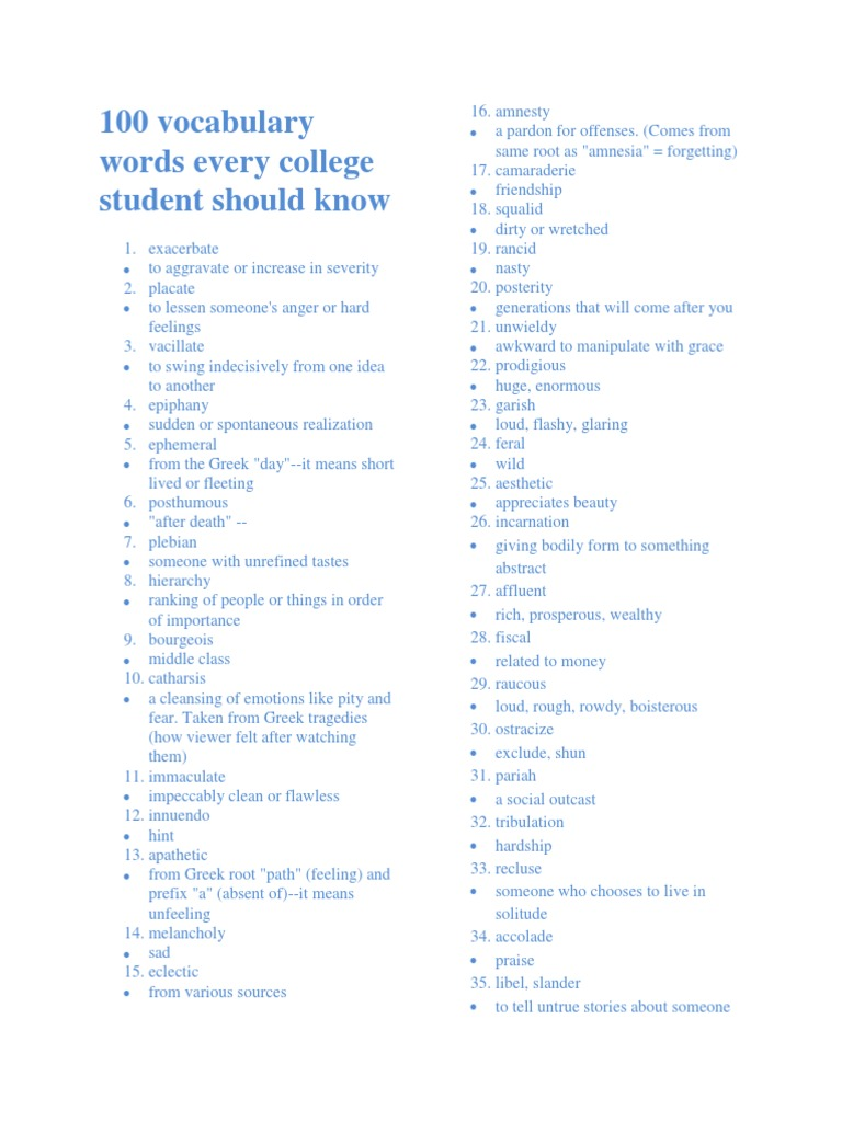 100 words a college student should know