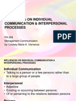 Influences on Individual Communication & Interpersonal Processes
