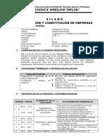 Silabo de Organizacion y Constitución de Empresas