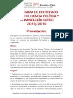 Información General Programa Doctorado Curso 18-19