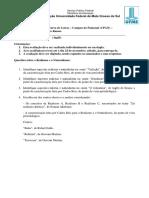 Literatura Brasileira III - Avaliação 1 - 2018.2