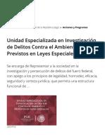 Unidad Especializada en Investigación de Delitos Contra El Ambiente y Previstos en Leyes Especiales - Procuraduría General de La República