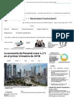 La Economía de Panamá Crece 4,2 % en El Primer Trimestre de 2018