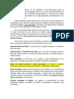 Breve Informe Ley 19.628 Uso de Informaciòn de Base de Datos No Publicas