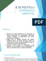 Eje de Política 3 Gobernanza Ambiental