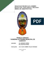 Trabajo Dirigido para la Infraestructura del municipio de CORIPATA