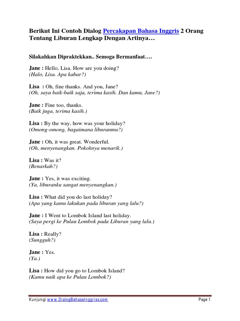 Berikut Ini Contoh Dialog Percakapan Bah Pdf