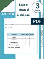 Examen Mensual (2018-2019)Septiembre - 3er. Grado Lainitas