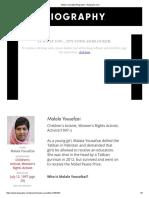 Malala Yousafzai Biography - Biography