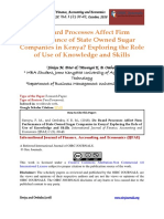 Effect of Use of Knowledge and Skills on the Sutstainable Financial Performance of State Owned Sugar Companies in Kenya.