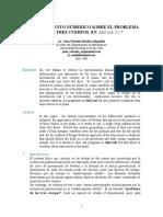 UN EXPERIMENTO NUMERICO SOBRE EL PROBLEMA DE LOS TRES CUERPOS EN Mat Lab 5.1