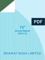 Bhrat Nidhi Ltd 73rd Annual Report 2015-16