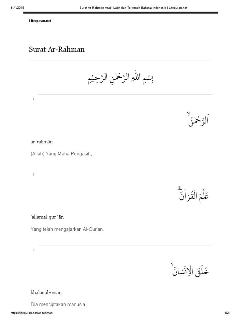 Surat Ar Rahman Dan Artinya