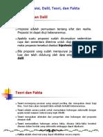5.b. Proposisi, Dalil, Teori Dan Fakta