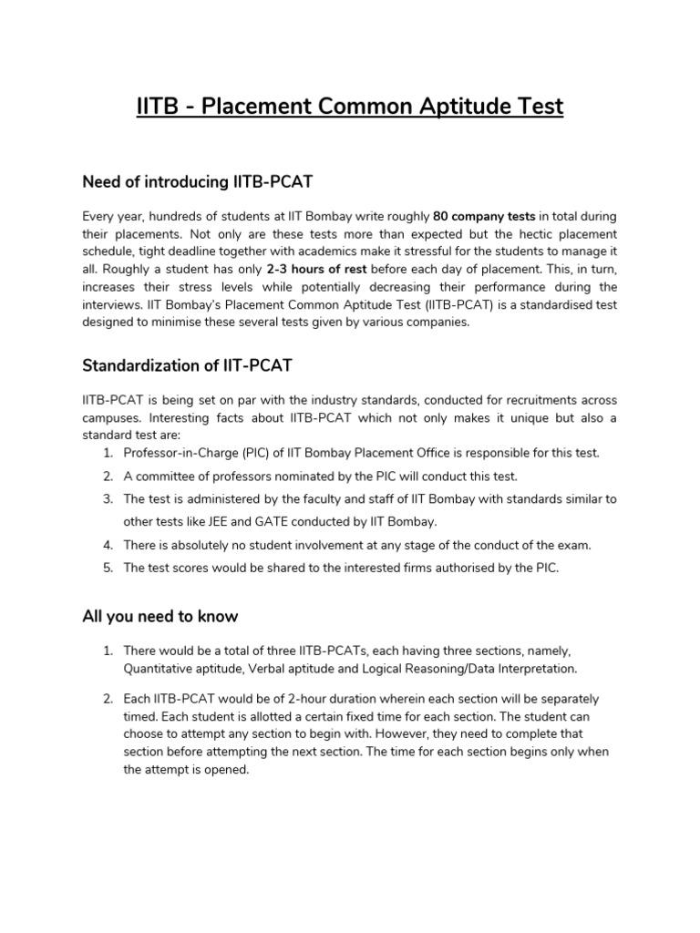 IITB - Placement Common Aptitude Test: Need of introducing IITB-PCAT