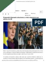 Propondrá Alemania Soluciones a Crisis Migratoria Que Afecta a La UE