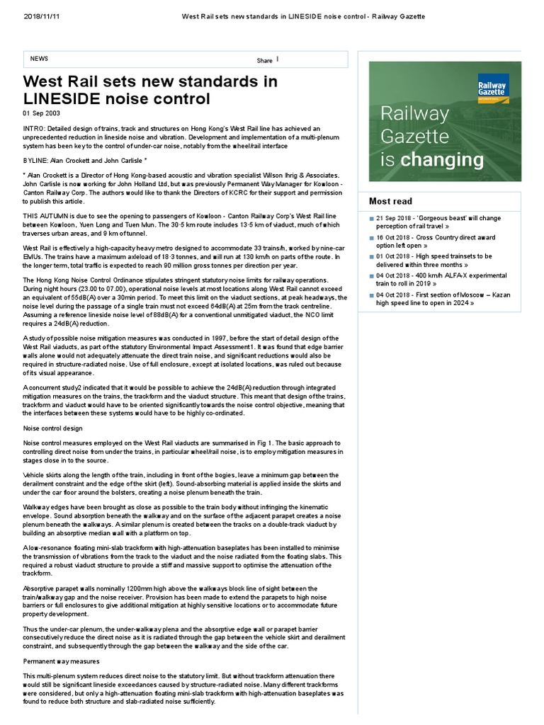 West Rail Sets New Standards in LINESIDE Noise Control - Railway