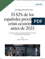 El 82% de Los Españoles Prevén Otra Crisis Económica Antes de 2023