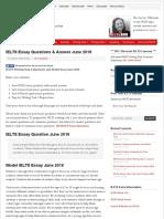 IELTS Essay Questions & Answer June 2018