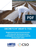 Decreto N° 39147-s-tss Reglamento para la prevencion proteccion de las personas trabajadoras expuestas a estres termico por calor