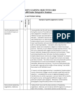 university learning objectives grid