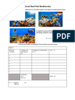 Working Sheet for Coral Reef Simpsons Index