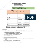 Calendario Prematricula Ingreso 2019
