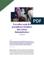 Les ados sont les premières victimes des crises humanitaires