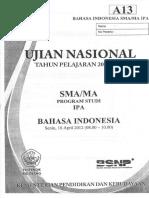 SOAL UN SMA 2012 Bahasa Indonesia (IPA)