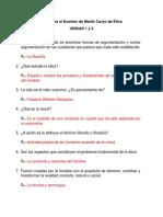Guía Para El Examen de Medio Curso de Ética UNIDAD 1 y 2