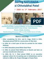Natudada N.C. Patel Pictorial Profile 13-11-1928 to 1-2-2017