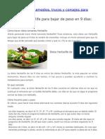 Dieta Con Herbalife Para Bajar de Peso en 9 Días Menú Semanal