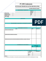 FHS-RPC-HSD-013 - Corrective and Preventive Action Record Form