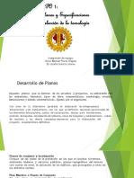 Exposición de creación de planos, especificaciones, selección de tecnologías