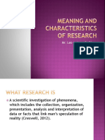 MEaNING and Characteristics of Research by Sir Leo andrew B. Diego