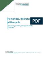 Enseignement de spécialité Humanités, littérature et philosophie