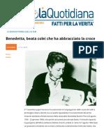Benedetta Bianchi Porro, Beata Colei Che Ha Abbracciato La Croce