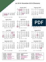 calendar romania december 2018november 2019