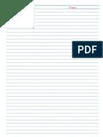Folha de Caderno Linha Azul