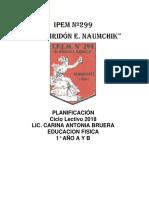 Planif Ed Física 1° A y B Prof Bruera Carina