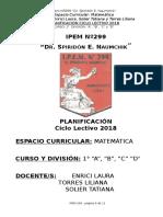 Planif Matemática 1° A,B,C,D Prof. Enrici Torres L. Solier