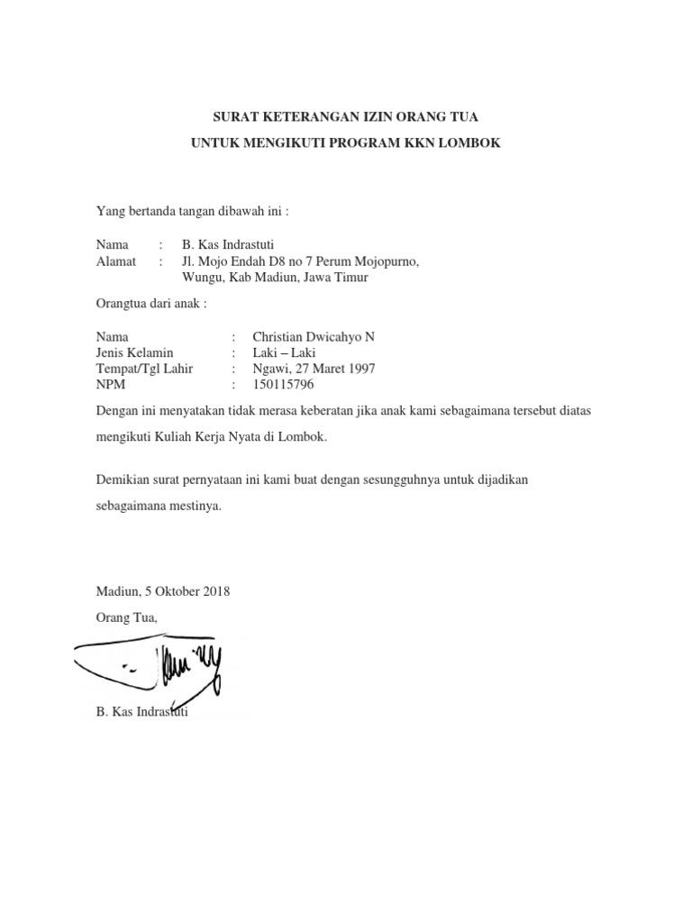Surat Keterangan Izin Orang Tuadocx