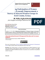Enhancing Participation of Women Groups in Economic Empowerment; A Survey of Selected Women Groups in Kisii County, Kenya